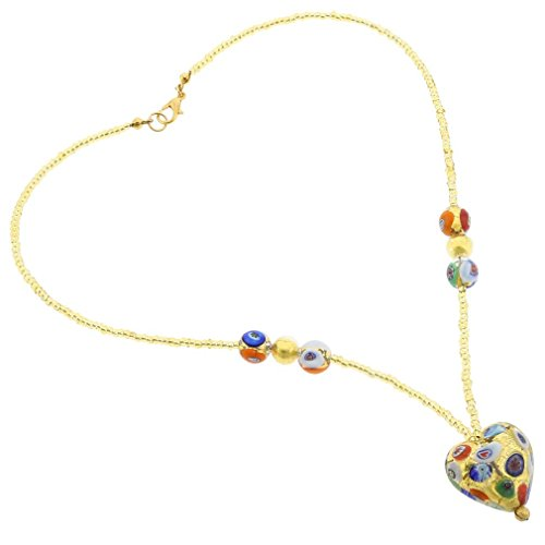 GlassOfVenice Murano Glass Heart Necklace - Klimt ()
