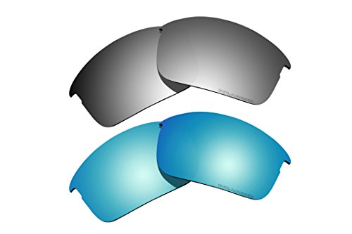 2 Pairs Polarized Lenses Replacement Blue & Black Iridium for Oakley Bottle Rocket - Rocket Sunglasses Bottle