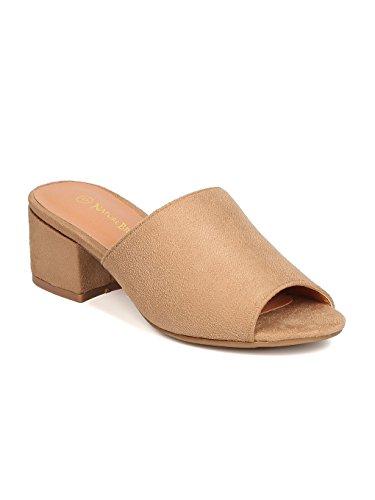 Women Faux Suede Peep Toe Chunky Heel Mule GC31 - Beige (Size: 8.5)