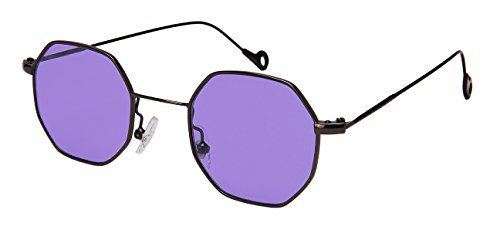 Edge I-Wear Retro Chic Octagon Shaped Sunglasses with Flat Colored Lens - Shaped Women Square