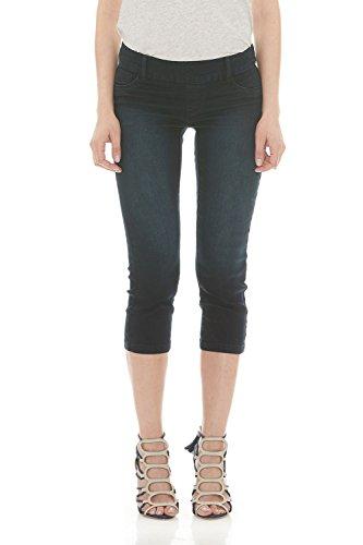 Blue Denim Stretch Capri Jeans (Suko Womens Pull On Capri Jeans Power Stretch 16801C Blue Black 10)