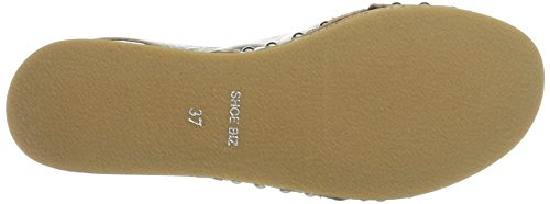 Sandal para Velvet Plateado Cuña Mujer con Silver Shoe Sandalias Platau Biz 5n4qxFf
