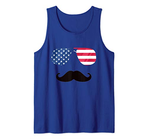 American Flag Sunglasses Moustache Tee Funny Patriotic Flags Tank ()