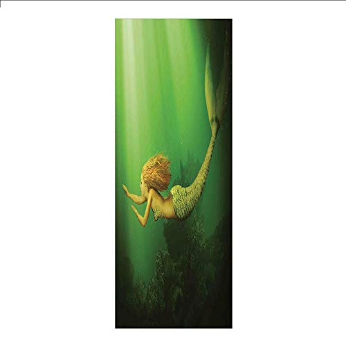 3D Decorative Film Privacy Window Film No Glue,Mermaid,Mermaid with Fish Tail Swimming in The Deep Sea Fantasy World Artwork,Green Dark Green Ginger,for Home&Office