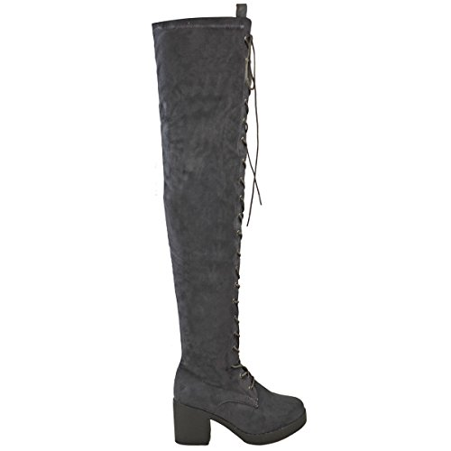Size Womens Thirsty Boots Grey Thigh Faux Knee Suede Heel Over Biker High The Up Ladies Lace Fashion Block Goth qZYRa5q