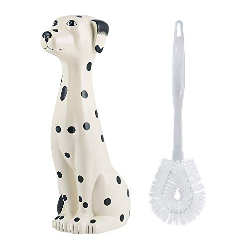 Allure Home Creations Ceramic Dalmatian Bowl Toilet Brush Holder Set-Brush Included -2pcs - Toilet Brush Ceramic
