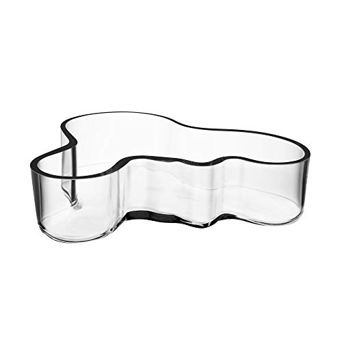 Iittala Alvar Aalto Collection Bowl, Dish, Small Bowl, Salad Bowl, Snack Bowl, Glass, Transparent, 5 x 19.5 cm, 1007035