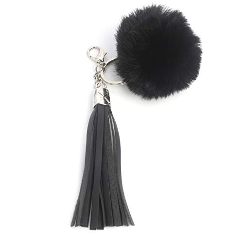 (Beaulegan Women Leather Keychain - Faux Fur Ball Tassel Key Chain for Car Keys and Bags Charm - 6.3 Inch Long, Silver)