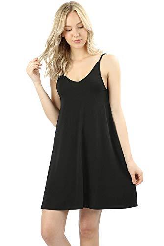 - Zenana Premium Women's Double V-Neck Spaghetti Strap Short Swing Cami Dress (Black, Large)