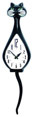 - Simone Black Cat Animated Wall Clock