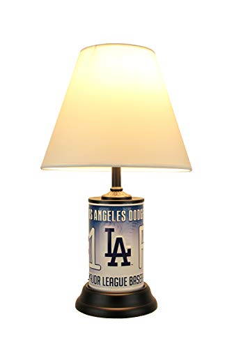 MLB Los Angeles Dodgers Number 1 Fan License Plate Lamp with Fabric Shade