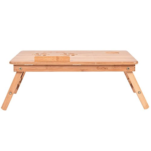 Apontus Portable Bamboo Laptop Desk Table w/Drawer by Apontus