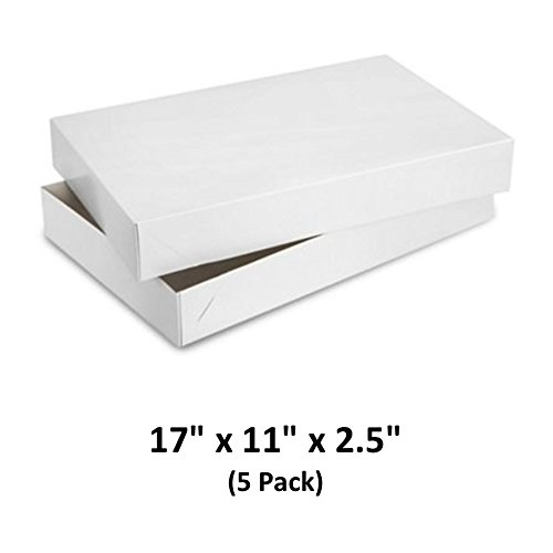 White Gloss Cardboard Apparel Decorative Gift Boxes with Lids for Clothing and Gifts 17x11x2.5 (5 Pack) | MagicWater Supply -