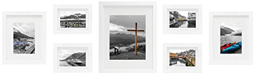 Golden State Art White 7 Pack Gallery Wall Set - Includes: 11x14 Inch with 8x10 inch matte opening, Two 8x10 inch with 5x7 matte openings, Four 5x7 inch with 4x6 inch matte opening