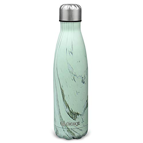 cicike Double Wall Stainless Steel Vacuum Insulated Drinking Sport Water Bottle, Leak Proof and BPA Free, for Outdoor, 17oz/500ml, Keeps Water Cold 24 Hours and Hot 12 (Birchwood)
