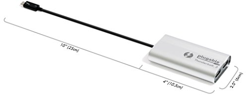 Plugable Thunderbolt 3 to Dual DisplayPort Display Adapter Compatible with Late 2016/2017/2018 MacBook Pro Systems (Supports Up to Two 4K 60Hz Monitors Or One 5K) [Thunderbolt 3 Certified] by Plugable (Image #3)
