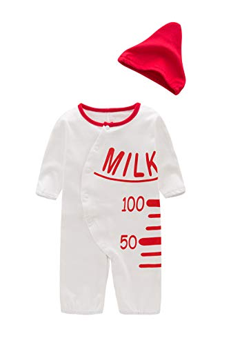 XM Nyan May's Toddler Baby Cute Milk Bottles Costume Jumpsuit Romper Hat,White,6-12 Months ()