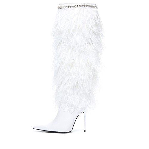 Jeffrey Campbell Flyga 4 U Fjäder Bröllop Boot White