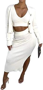 VWIWV Women's 3 Piece Knit Outfit Long Sleeve Button Cardigan Crop Tank Top and Split Hem Skirt Sets Sweat