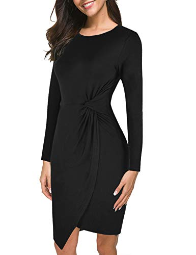 Lamilus Casual Dress,Women's Scoop Neck Long Sleeve Bodycon Solid Twist-Front Mini Sheath Work Dress,Black,X-Small