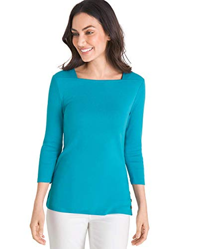 Chico's Women's Supima Cotton Side-Button Bateau-Neck Top Size 16/18 XL (3) Blue