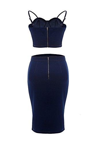 Conjuntos Piezas Blue La YACUN Deslizarse De 2 De Tops Falda Crop Mezclilla Mujer Vestido Bodycon TaOx6Pqa