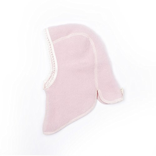 LANACare Organic Merino Wool Baby Balaclava in Soft Pink with Lace, Size 74 (6-9 mo) ()