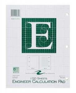 Bulk Engineering Pads, 5x5 Grid, 8.5''x11'', Green Paper, 100 Sheets: Roaring Spring 95382 (48 Engineering Graph Pads)