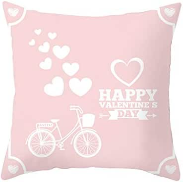 Houshelp Happy Valentine's Day Decorative Pink Pillow Covers Love Heart Square Couple Cushion Cases for Sofa Bedroom Car Throw Pillow Case Rose Printing Linen Pillow Cases Cushion Covers 45x45cm