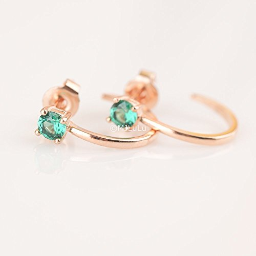Green Simulated Emerald Open Hoop Stud Earrings_Rose Gold Fill