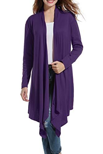 Womens Long Sleeve Open Front Long Maxi Cardigan Waterfall Asymmetric Draped Duster Coat Purple