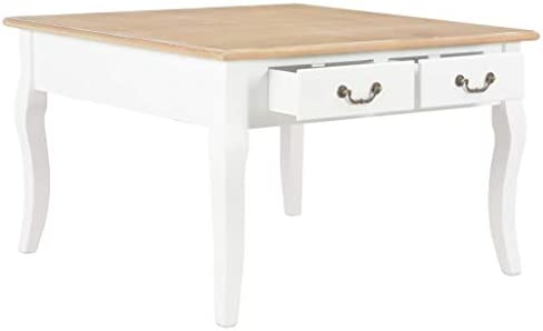 Uitstekend Tidyard salontafel wit 80 x 80 x 50 cm hout met 4 laden woonkamertafel koffietafel bijzettafel wWOK5SC