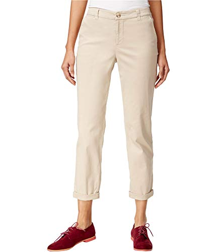 Maison Jules Womens Twill Straight-Leg Cropped Pants Tan 12