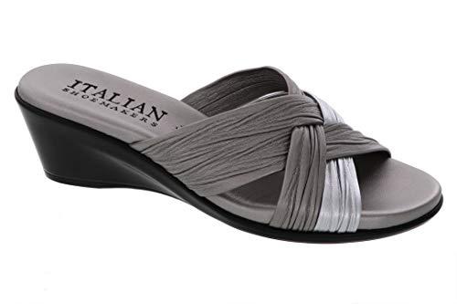 ITALIAN Shoemakers Womens Saylor Wedge Sandal (7.5 M US, Pewter Multi)