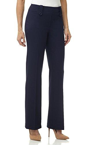 Rekucci Women's Smart Desk to Dinner Stretch Bootcut Pant w/ Tummy Control (Navy Blue Dress Pants Slacks)