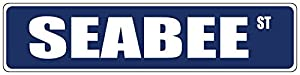 Seabee Blue Street Sign DECAL Sticker 8x2 from Cortan360