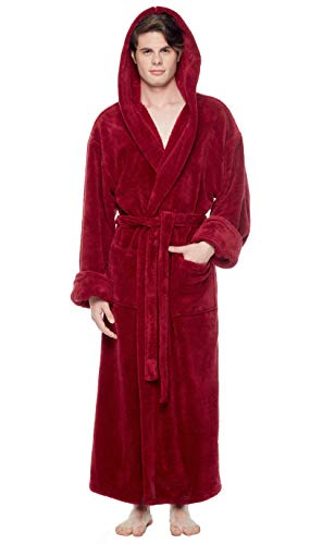 (Arus Men's Fleece Robe, Long Hooded Turkish Bathrobe, Wine, XXL)