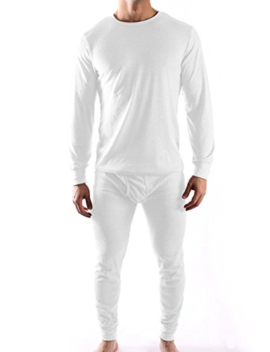Mens Thermal Underwear Sets - Assorted Colors & Extended Sizes (X-Large, White) (Thermal Underwear White compare prices)