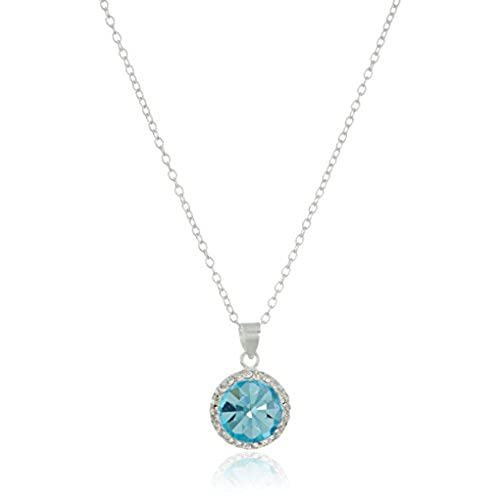 March birthstone necklace amazon hallmark jewelry march birthstone sterling silver crystal pendant necklace 18 mozeypictures Choice Image