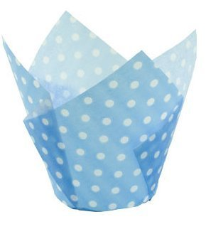 - Baby Blue and White Polka Tulip Cupcake Baking Cup Liners -24ct