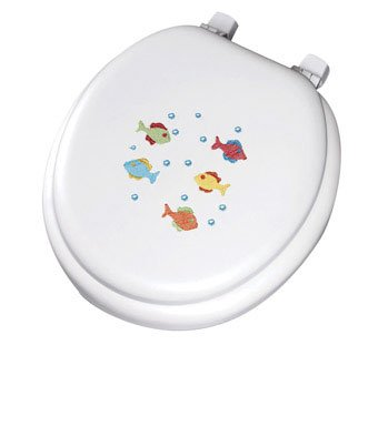 Mayfair School of Color Fish Embroidered Soft Toilet Seat wi