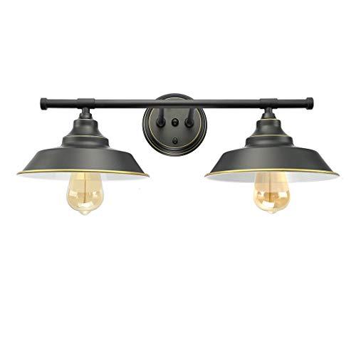 LMSOD Modern Industrial 2-Light Wall Mount Light Sconces,Vanity/Bathroom Black Wall Lamp