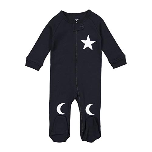 (Allie & Oliver 100% Cotton Snug Fit Baby Footie Pajamas, Star and Moon, White, Newborn)