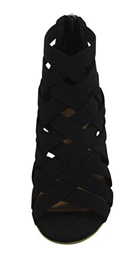 Cambridge Selezionare Donna Open Toe Crisscross Tessuto Reticolo Posteriore Zip Chunky Impilato Blocco Tallone Caviglia Bootie Nero Nbpu