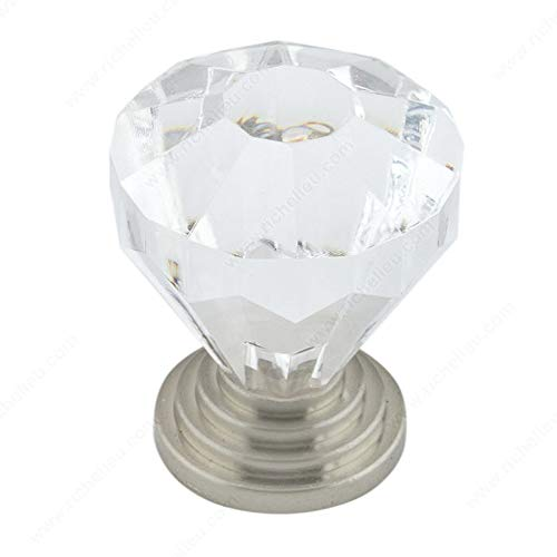 Metal Knob Eclectic Richelieu - RICHELIEU HARDWARE - Eclectic Acrylic and Metal KNOB - BP1008919511 (Clear/Brushed Nickel)