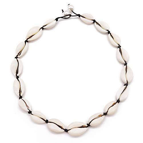 Festival-US Shell Choker Necklace for Girl Hawaiian Seashell Pearls Necklace Handmade Woven Adjustable Natural Cowrie Shell Bracelet Jewelry for Women (Black 14