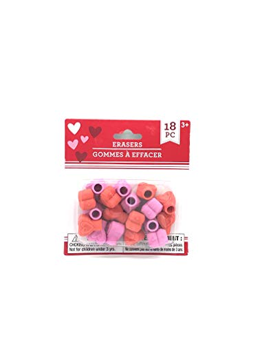 Heart Shaped Pencil Top Erasers 18 Count (Pencil Top Eraser Heart)
