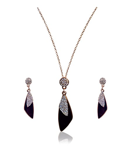 Ciano Stunning Agate Women Black Necklace Set & Earrings with Pave Crystal Alluring Triangular Jewellery