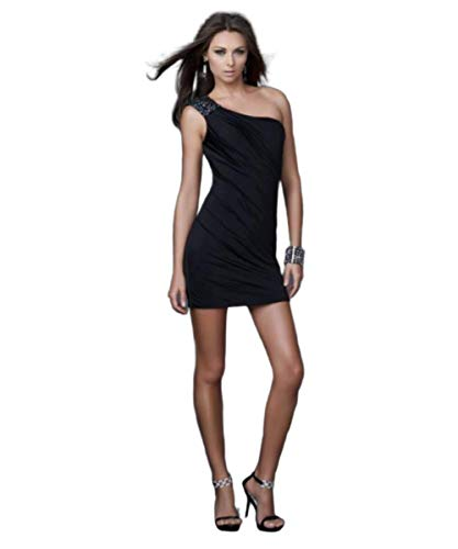 (La Femme One Shoulder Strap Fitted Cocktail Dress 15887 Black)