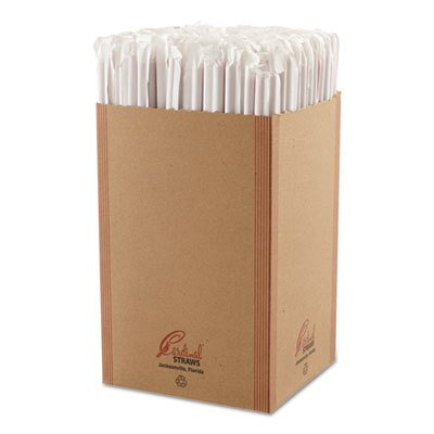 (CARDINAL UNIJAX, LLC - Wrapped Giant Straws, Red, 10 1/4